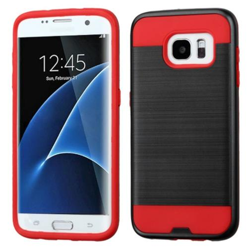 Insten Hard Hybrid Silicone Cover Case For Samsung Galaxy S7 Edge, Black/Red