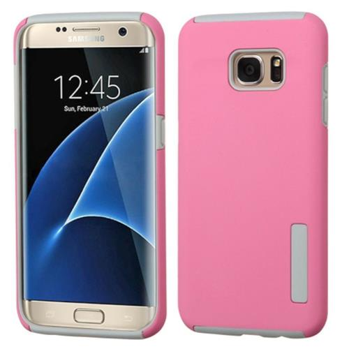 Insten Fitted Soft Shell Case for Samsung Galaxy S7 Edge - Pink/Gray