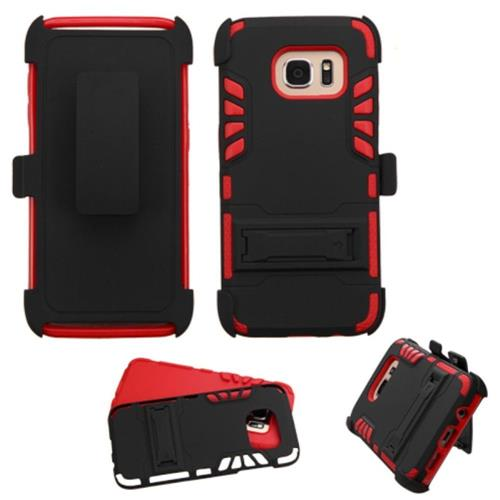 Insten Hard Dual Layer Rubber Silicone Case w/stand/Holster For Samsung Galaxy S7 Edge, Black/Red