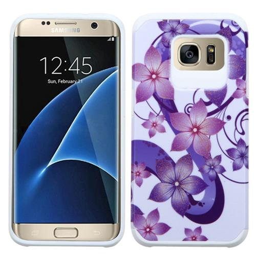 Insten Hibiscus Hard Hybrid Rubber Silicone Case For Samsung Galaxy S7 Edge, Purple/White