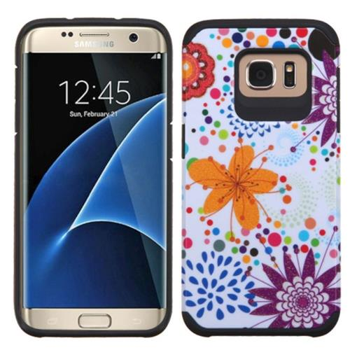 Insten Fitted Soft Shell Case for Samsung Galaxy S7 Edge - Orange/White