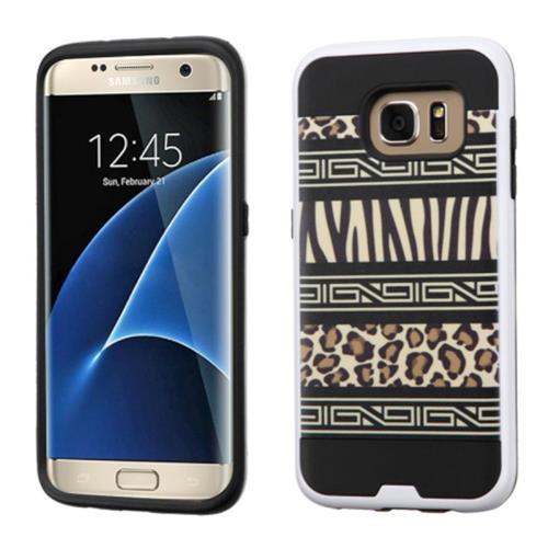 Insten Zebra Hard Hybrid Rubberized Silicone Case For Samsung Galaxy S7 Edge, Black/Brown