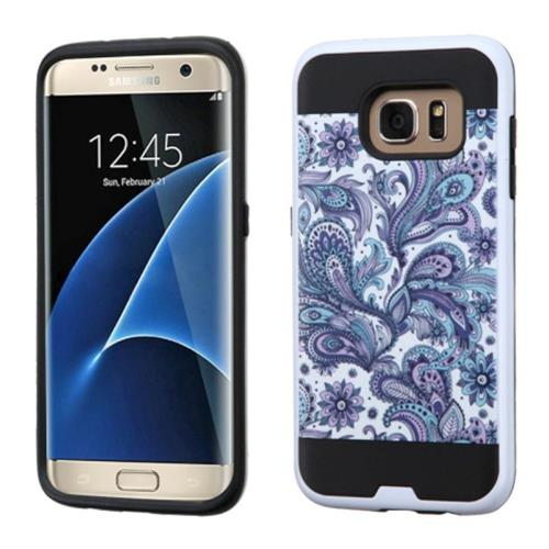 Insten European Flowers Hard Hybrid Rubber Silicone Case For Samsung Galaxy S7 Edge, Purple/White
