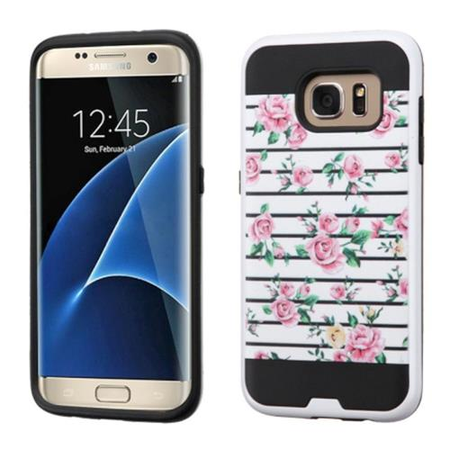 Insten Fresh Roses Hard Hybrid Rubberized Silicone Cover Case For Samsung Galaxy S7 Edge, Pink/White