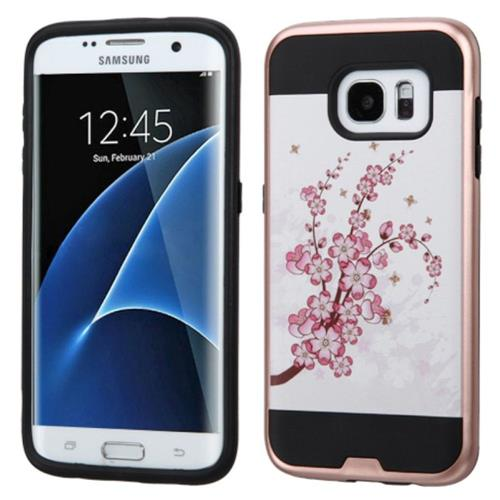 Insten Spring Flowers Hard Hybrid Rubber Silicone Case For Samsung Galaxy S7 Edge, Pink/White