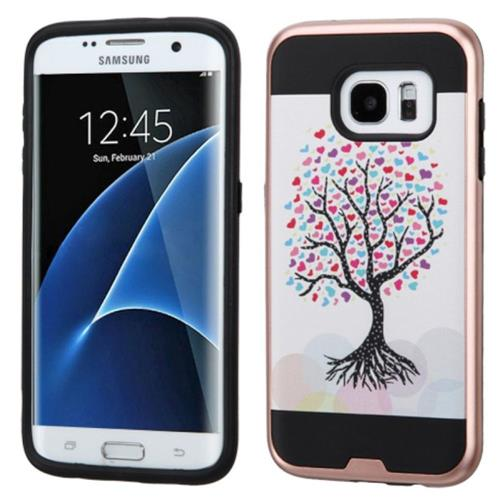 Insten Love Tree Hard Hybrid Rubber Coated Silicone Case For Samsung Galaxy S7 Edge, Pink/White