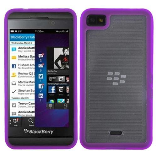 Insten Fitted Hard Shell Case for Blackberry Z10 - Clear/Purple