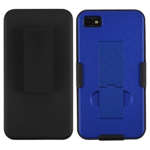 Insten Hard Matte Cover Case w/stand/Holster For BlackBerry Z10, Black/Blue