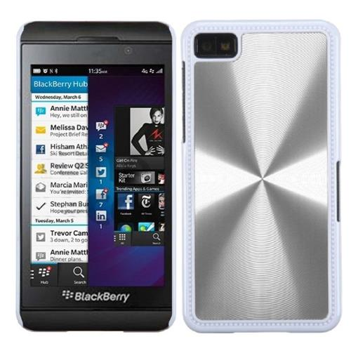 Insten Cosmo Aluminum Metallic Hard Cover Case For BlackBerry Z10, Silver/White