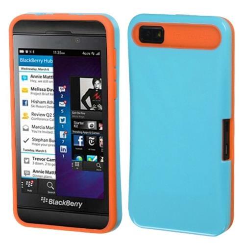 Insten Hard Silicone Case w/card holder For BlackBerry Z10, Light Blue/Orange