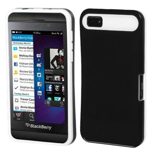 Insten Hard Silicone Case w/card holder For BlackBerry Z10, Black/White