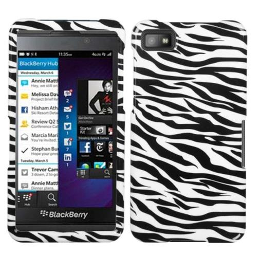 Insten Zebra Hard Case For BlackBerry Z10, Black/White