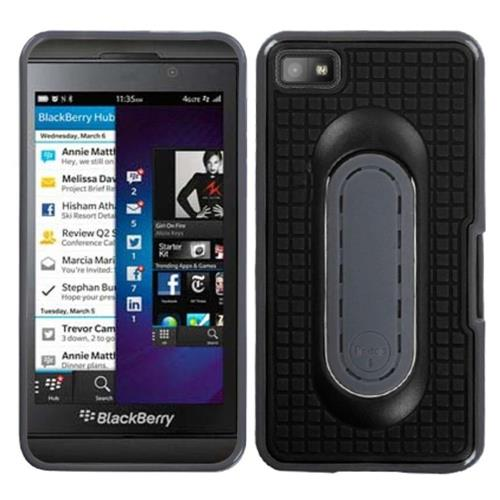 Insten TPU Case w/stand For BlackBerry Z10, Black/Gray