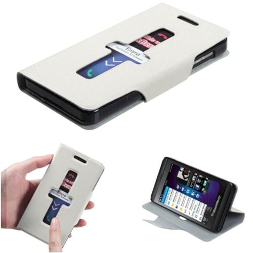 Insten Book-Style Leather Fabric Cover Case w/stand For BlackBerry Z10, White