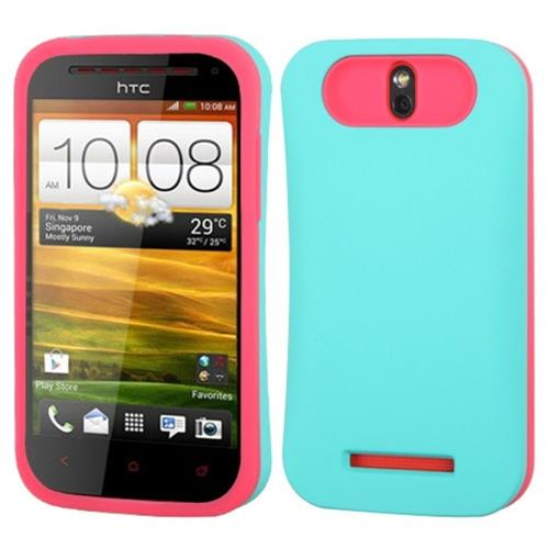 Insten Hard Silicone Cover Case w/card slot For HTC One SV, Turquoise/Hot Pink