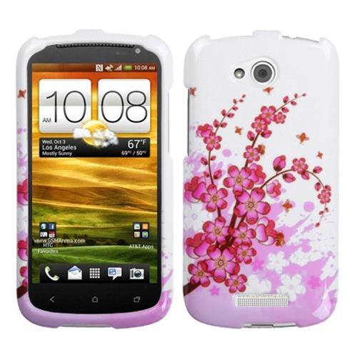 Insten Spring Flowers Hard Plastic Cover Case For HTC One VX, White/Pink