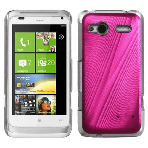 Insten Cosmo Aluminum Metallic Hard Cover Case For HTC Radar 4G / Omega, Pink/Clear