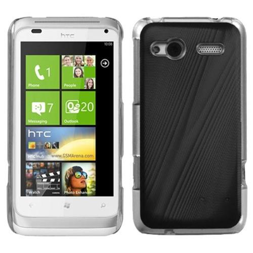Insten Cosmo Aluminum Metallic Hard Cover Case For HTC Radar 4G / Omega, Black/Clear