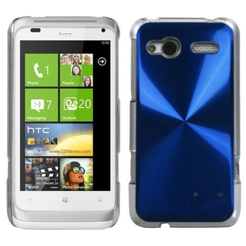 Insten Cosmo Aluminum Metallic Cover Case For HTC Radar 4G / Omega, Blue/Clear