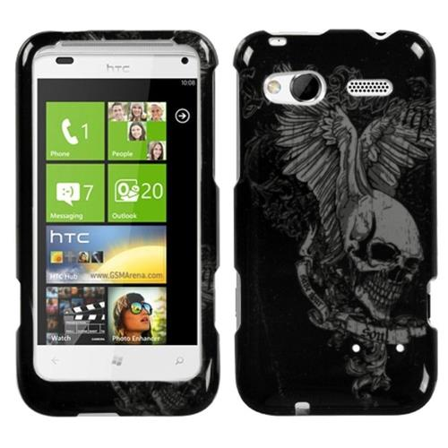 Insten Skull Wing Hard Cover Case For HTC Radar 4G / Omega, Black/Gray