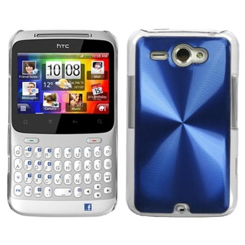 Insten Cosmo Aluminum Metallic Cover Case For HTC ChaCha/Status, Blue/Clear