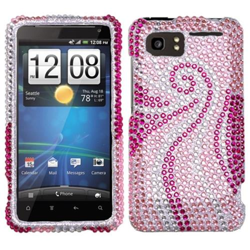 Insten Phoenix Tail Hard Rhinestone Case For HTC Holiday / Vivid / Raider 4G, Pink/Hot Pink