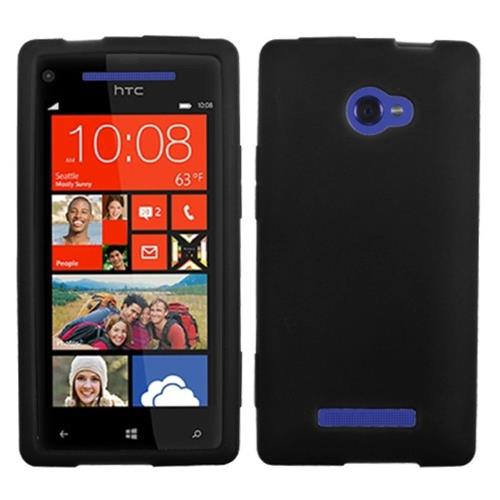 Insten Silicone Rubber Cover Case For HTC Windows Phone 8X, Black