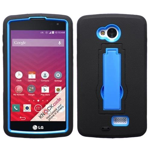 Insten Symbiosis Skin Dual Layer Rubber Hard Cover Case w/stand For LG Optimus F60, Black/Blue