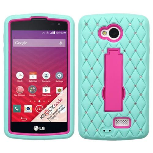 Insten Symbiosis Soft Hybrid Rubber Hard Case w/stand/Diamond For LG Optimus F60, Teal/Hot Pink