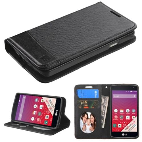 Insten Flip Leather Fabric Case w/stand/card slot/Photo Display For LG Optimus F60, Black