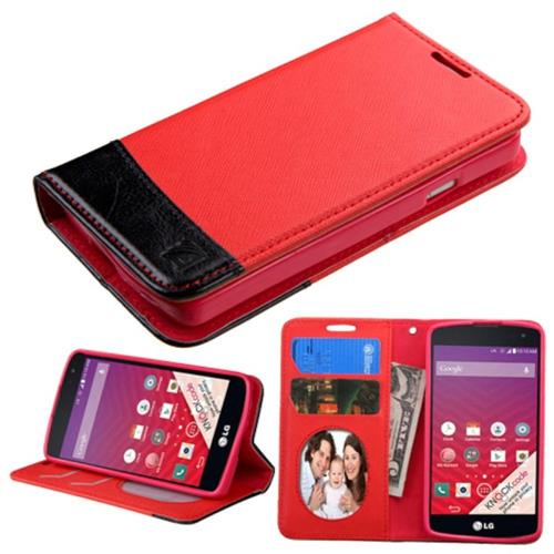 Insten Book-Style Leather Case w/stand/card holder/Photo Display For LG Optimus F60, Red/Black