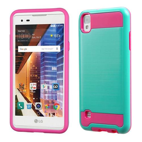 Insten Hard Dual Layer TPU Cover Case For LG Tribute HD/X STYLE, Teal/Hot Pink