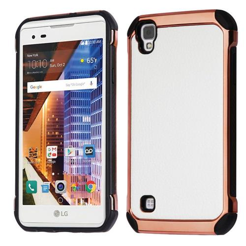 Insten Leather Hybrid Fabric TPU Cover Case For LG Tribute HD/X STYLE, White/Black