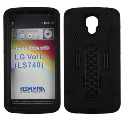 Insten Symbiosis Skin Hybrid Rubber Hard Case w/stand For LG Volt, Black