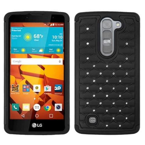Insten Hard Dual Layer Rubber Coated Silicone Cover Case w/Diamond For LG Volt 2, Black