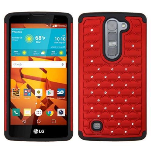 Insten Hard Hybrid Rubberized Silicone Case w/Diamond For LG Volt 2, Red/Black