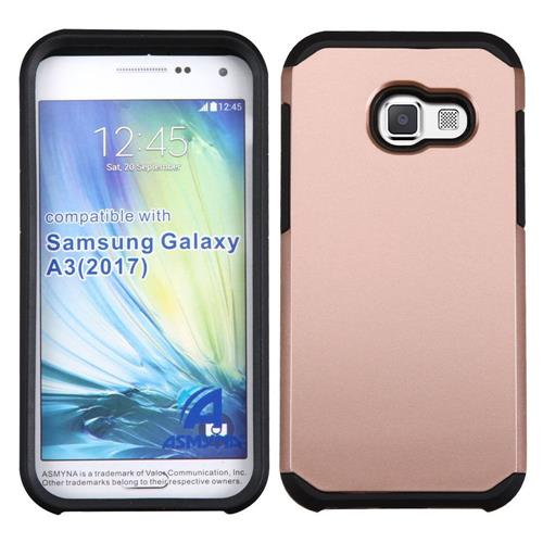 Insten Hard Dual Layer TPU Cover Case For Samsung Galaxy A3(2017), Rose Gold/Black