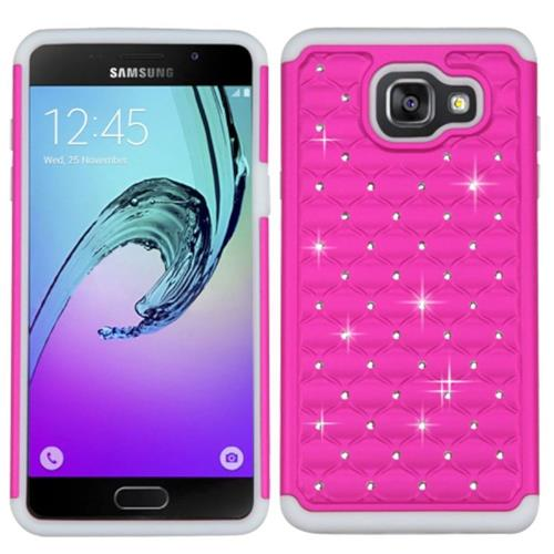 Insten Hard Hybrid Silicone Cover Case w/Diamond For Samsung Galaxy A5 (2016), Pink/White
