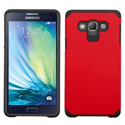 Insten Hard Hybrid Rubber Coated Silicone Case For Samsung Galaxy A7, Red/Black