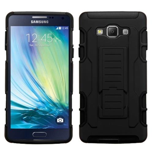 Insten Car Armor Hard Hybrid Plastic Silicone Case w/Holster For Samsung Galaxy A7, Black