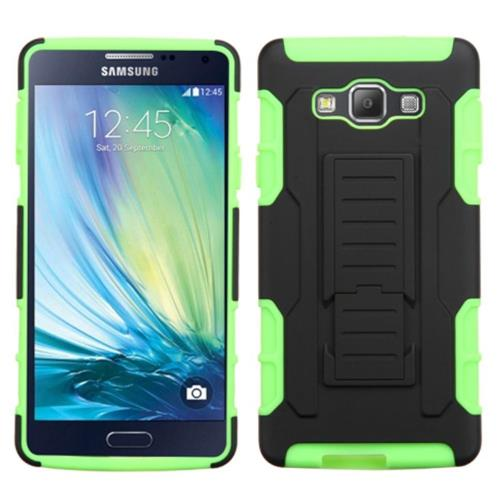 Insten Car Armor Hard Dual Layer Plastic Silicone Case w/Holster For Samsung Galaxy A7, Black/Green