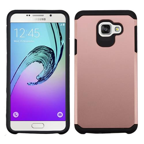 Insten Hard Hybrid Rubber Coated Silicone Cover Case For Samsung Galaxy A7 (2016), Rose Gold/Black