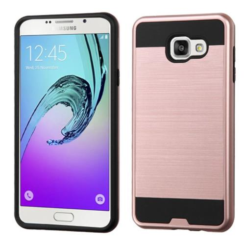Insten Fitted Soft Shell Case for Samsung Galaxy A7 (2016) - Rose Gold/Black