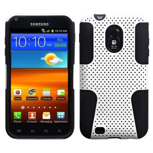 Insten Astronoot Mesh Hard Dual Layer Silicone Case For Samsung Galaxy S2 Epic 4G Touch, White/Black