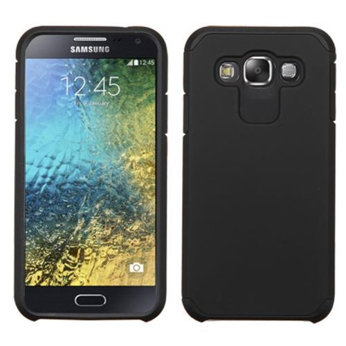 Insten Hard Dual Layer Rubber Coated Silicone Cover Case For Samsung Galaxy E5, Black
