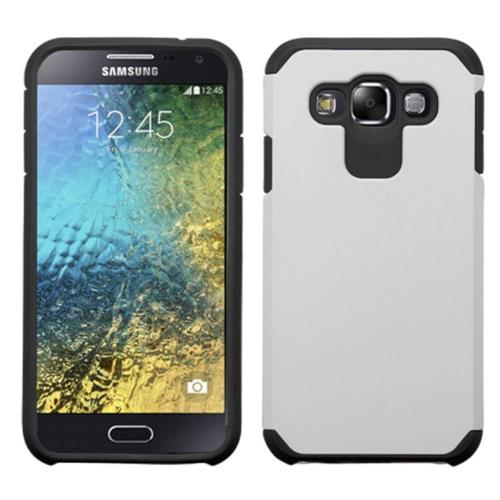Insten Hard Hybrid Rubber Coated Silicone Case For Samsung Galaxy E5, Silver/Black