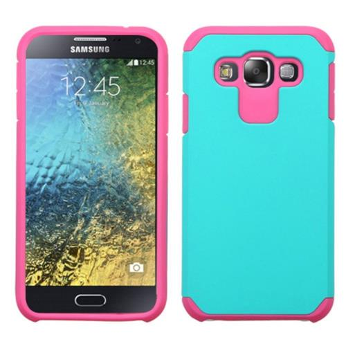 Insten Hard Hybrid Silicone Cover Case For Samsung Galaxy E5, Teal/Hot Pink