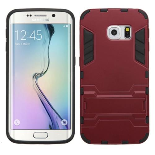 Insten Hard Dual Layer Metallic Silicone Cover Case w/stand For Samsung Galaxy S6 Edge, Red/Black