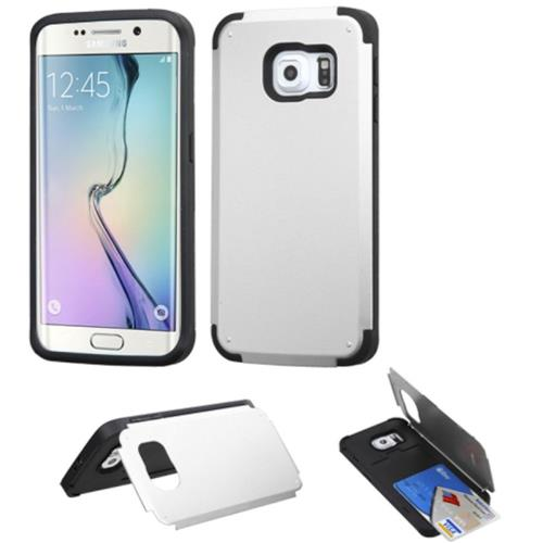 Insten Hard Case w/card slot For Samsung Galaxy S6 Edge, Silver