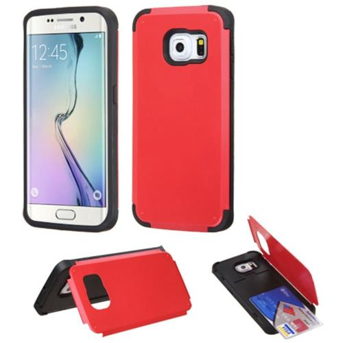 Insten Hard Rubber Cover Case w/card holder For Samsung Galaxy S6 Edge, Red